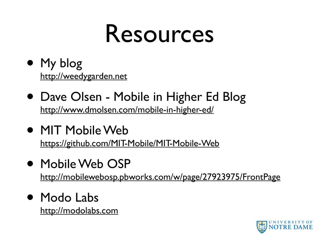 Resources • My blog http://weedygarden.net • Da...