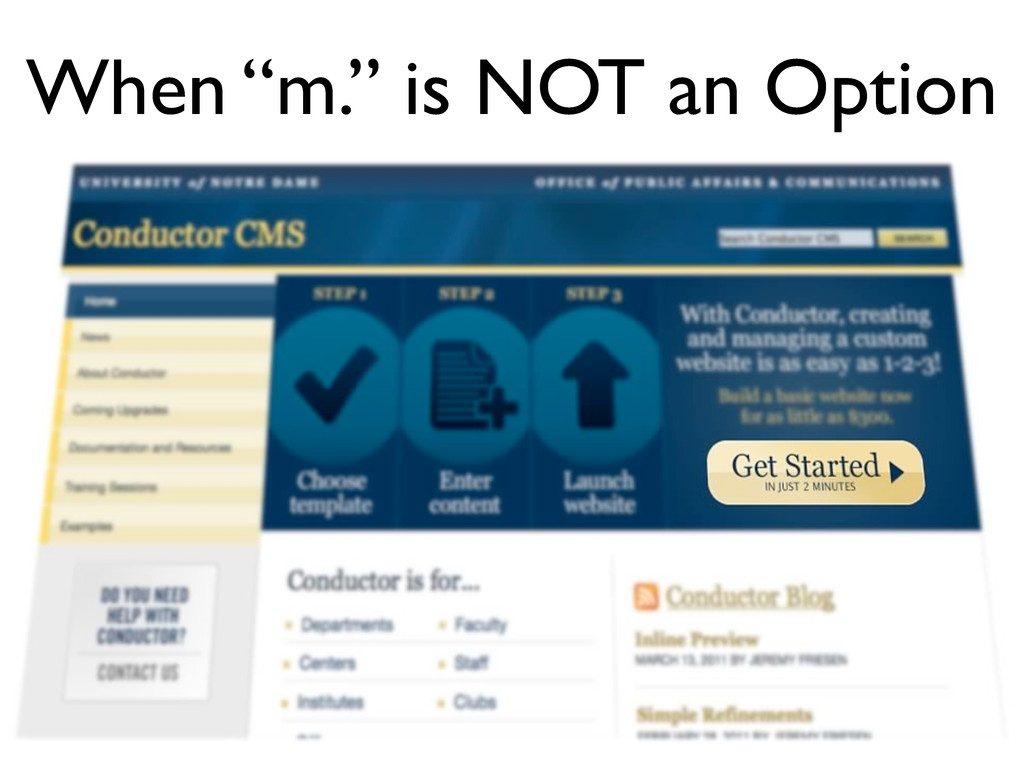 "When ""m."" is NOT an Option"