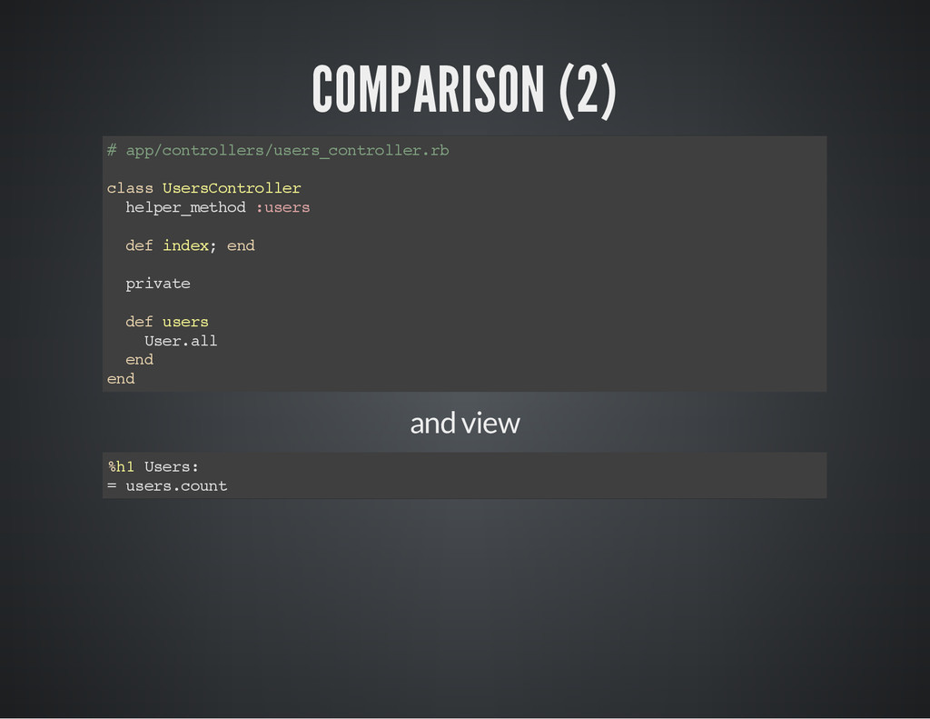 COMPARISON (2) # a p p / c o n t r o l l e r s ...