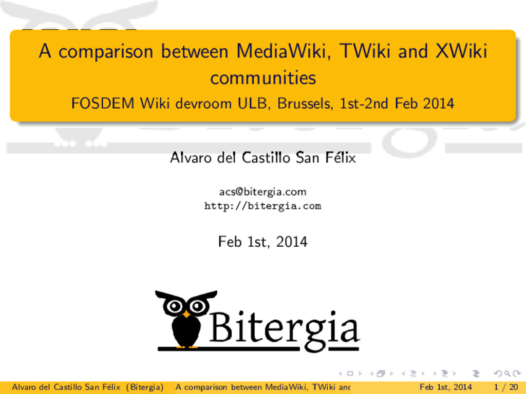 A comparison between MediaWiki, TWiki and XWiki...