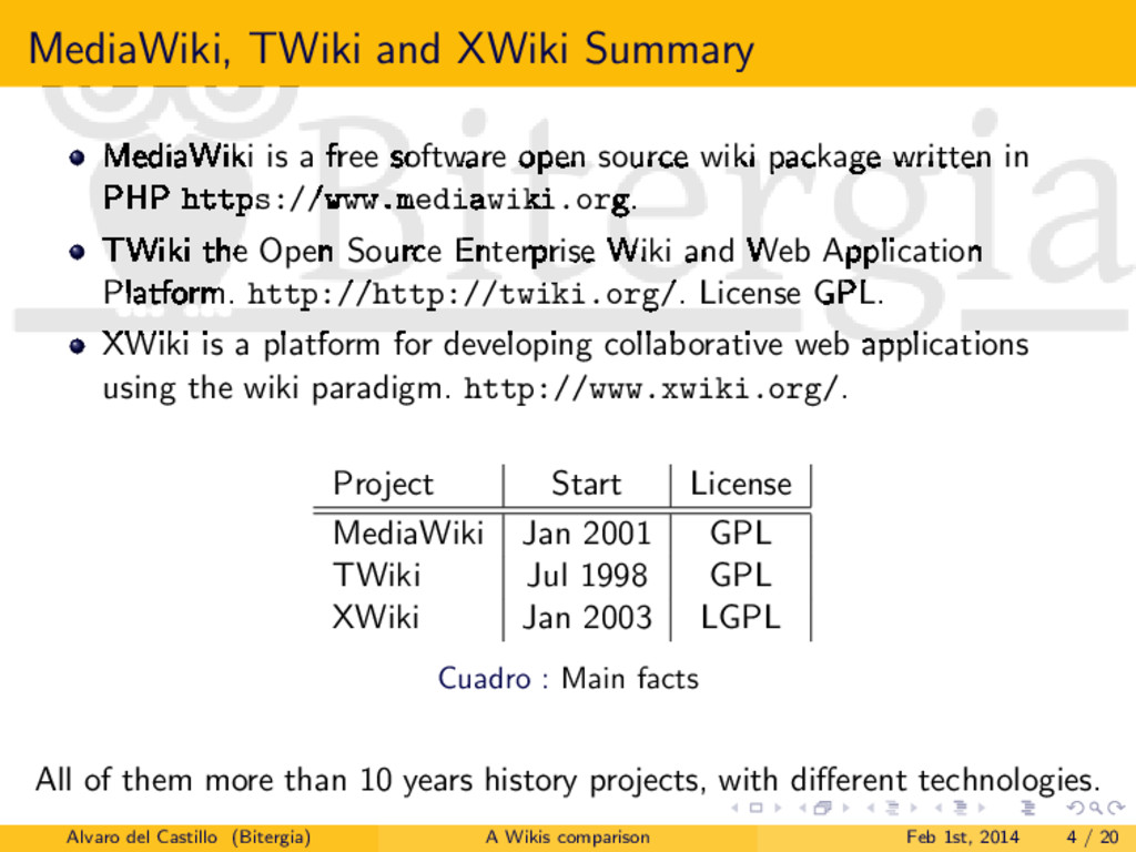 MediaWiki, TWiki and XWiki Summary MediaWiki is...