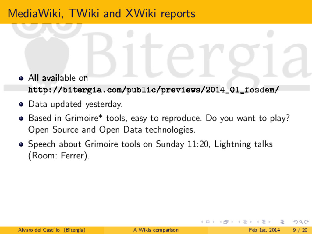 MediaWiki, TWiki and XWiki reports All availabl...