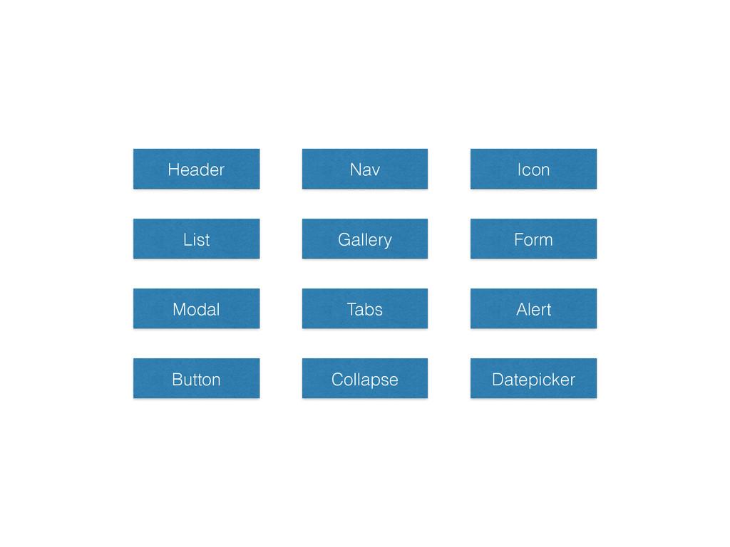 Header Nav Icon List Gallery Form Modal Tabs Al...