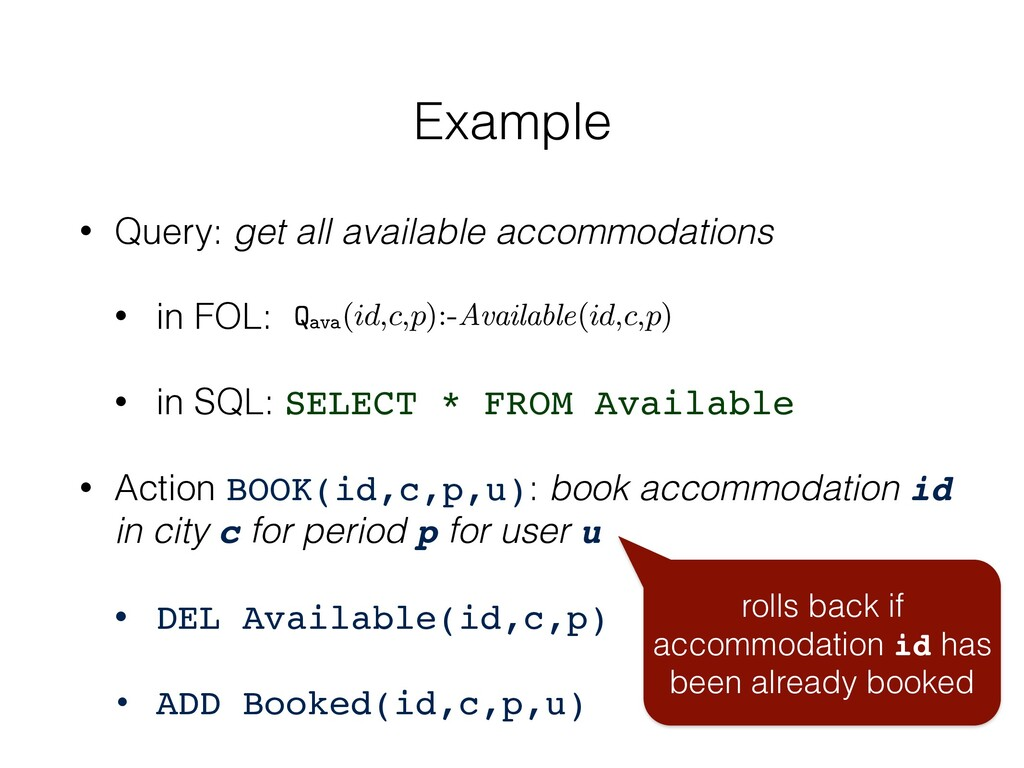 • Query: get all available accommodations • in ...