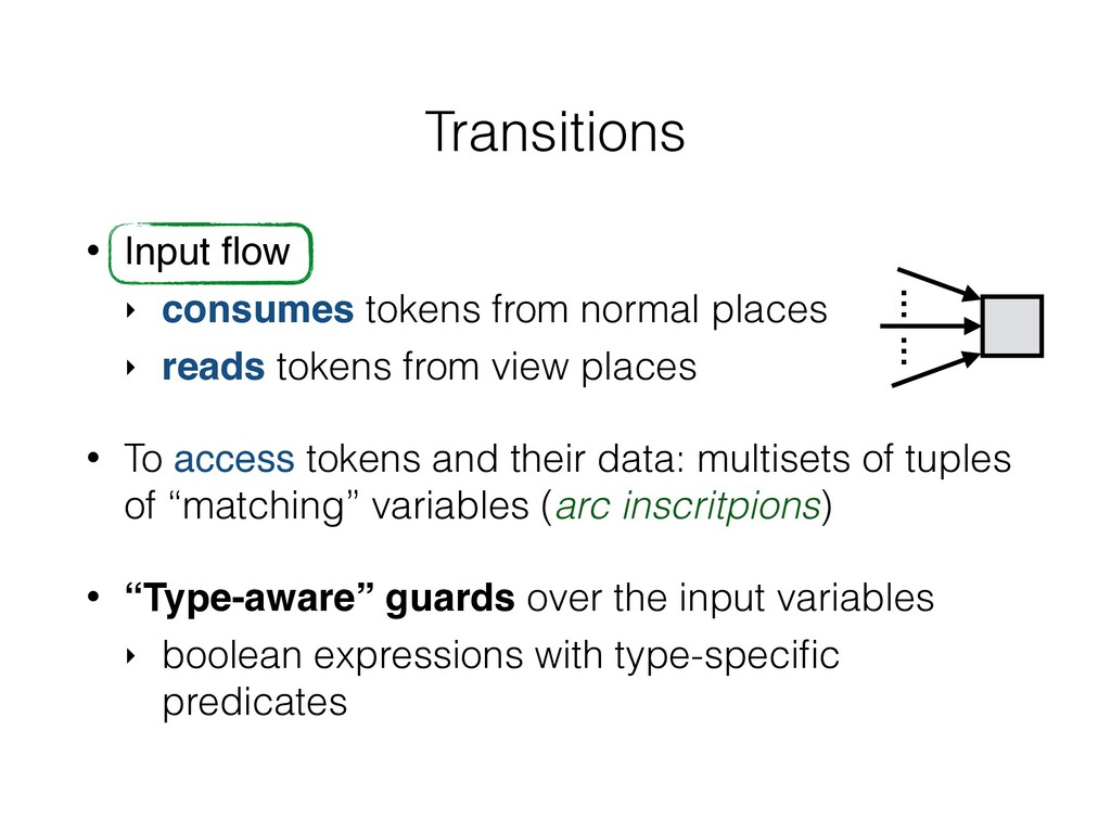 Transitions • Input flow ‣ consumes tokens from ...