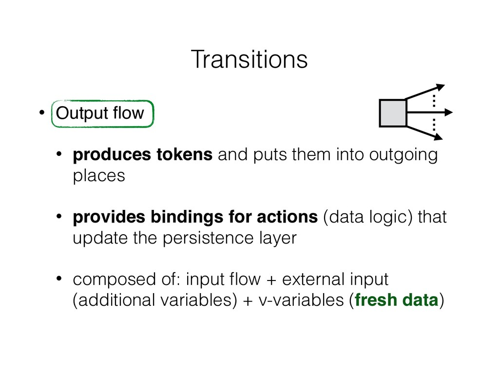 Transitions • Output flow • produces tokens and ...