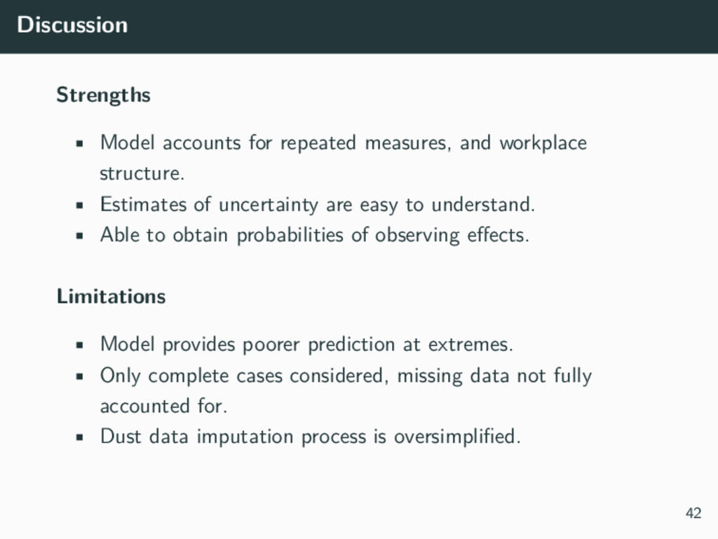 Discussion Strengths • Model accounts for repea...