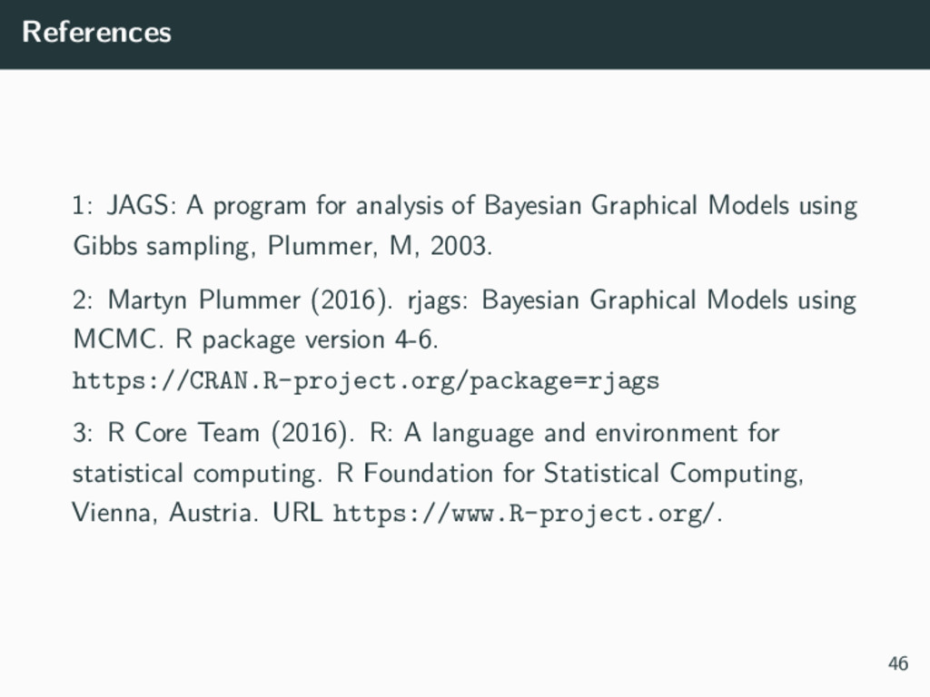 References 1: JAGS: A program for analysis of B...