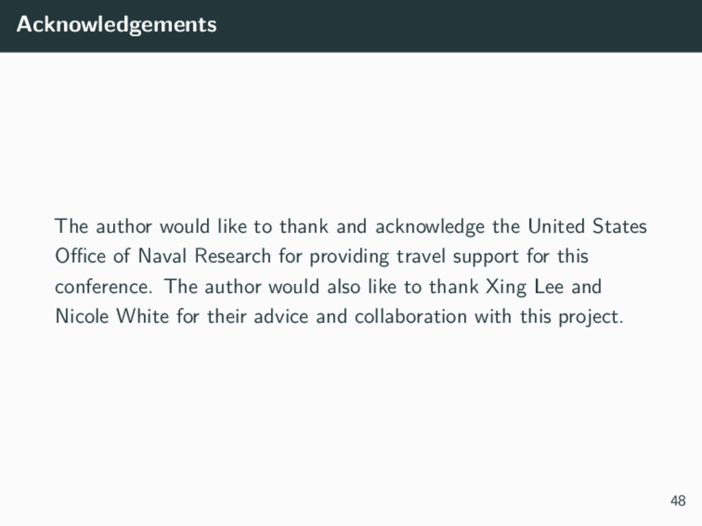 Acknowledgements The author would like to thank...