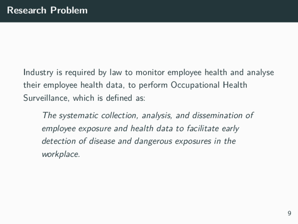 Research Problem Industry is required by law to...
