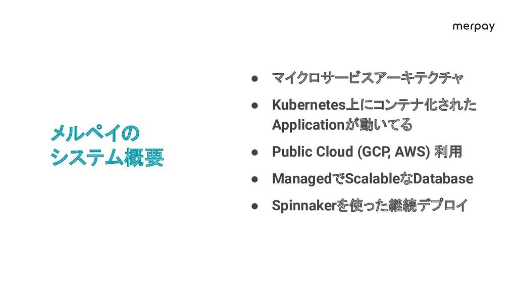 メルペイ システム概要 ● マイクロサービスアーキテクチャ ● Kubernetes上にコンテ...