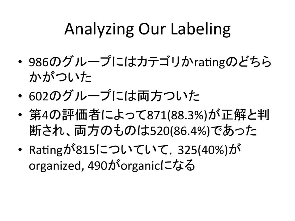 Analyzing Our Labeling • 986のグループにはカテゴリかraYngの...