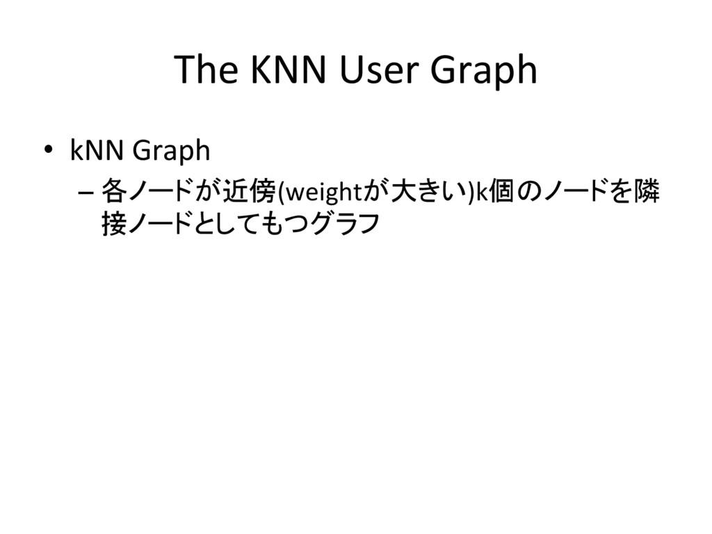 The KNN User Graph • kNN Graph –各ノードが近傍(weigh...