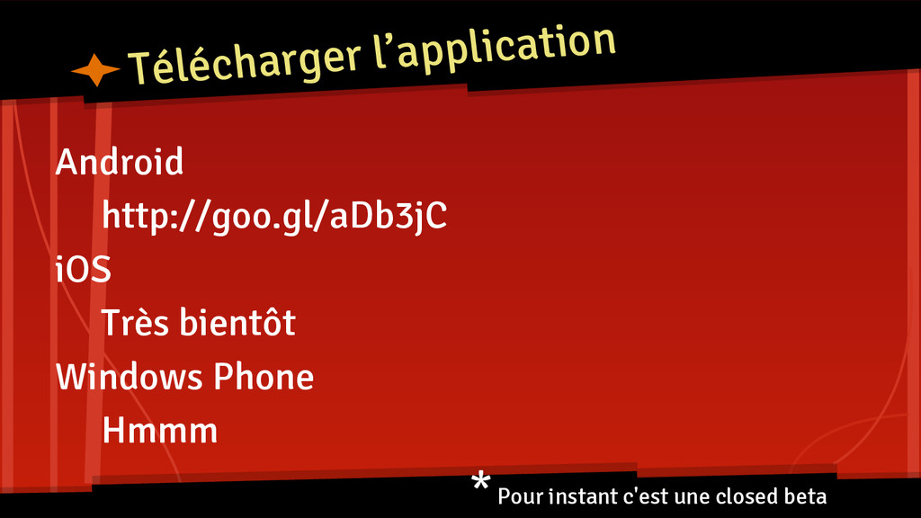 Télécharger l'application Android http://goo.gl...