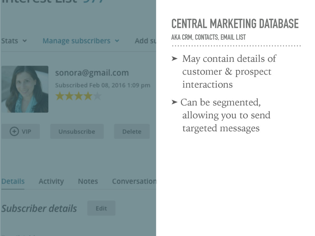 CENTRAL MARKETING DATABASE AKA CRM, CONTACTS, ...