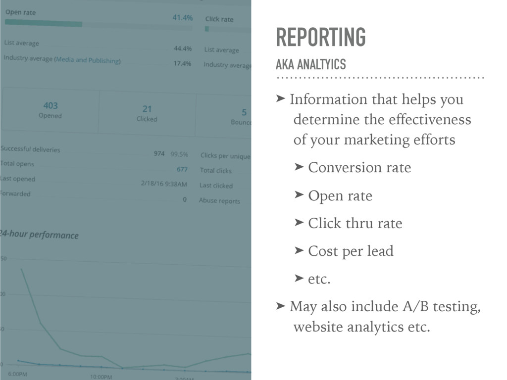 REPORTING AKA ANALTYICS ➤ Information that hel...