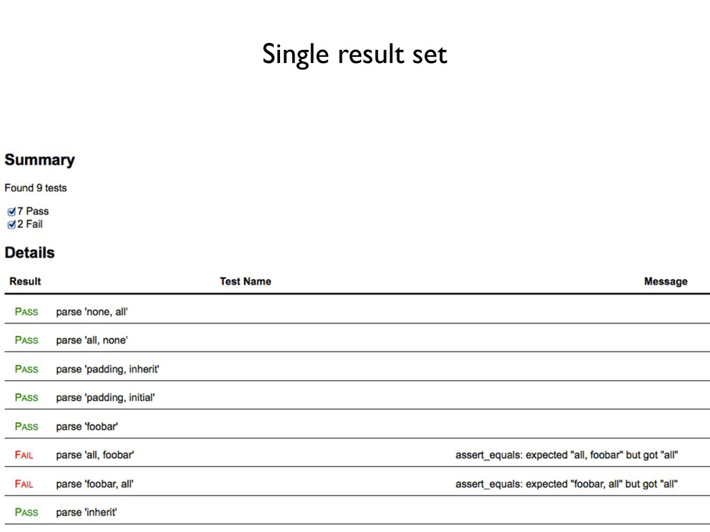Single result set