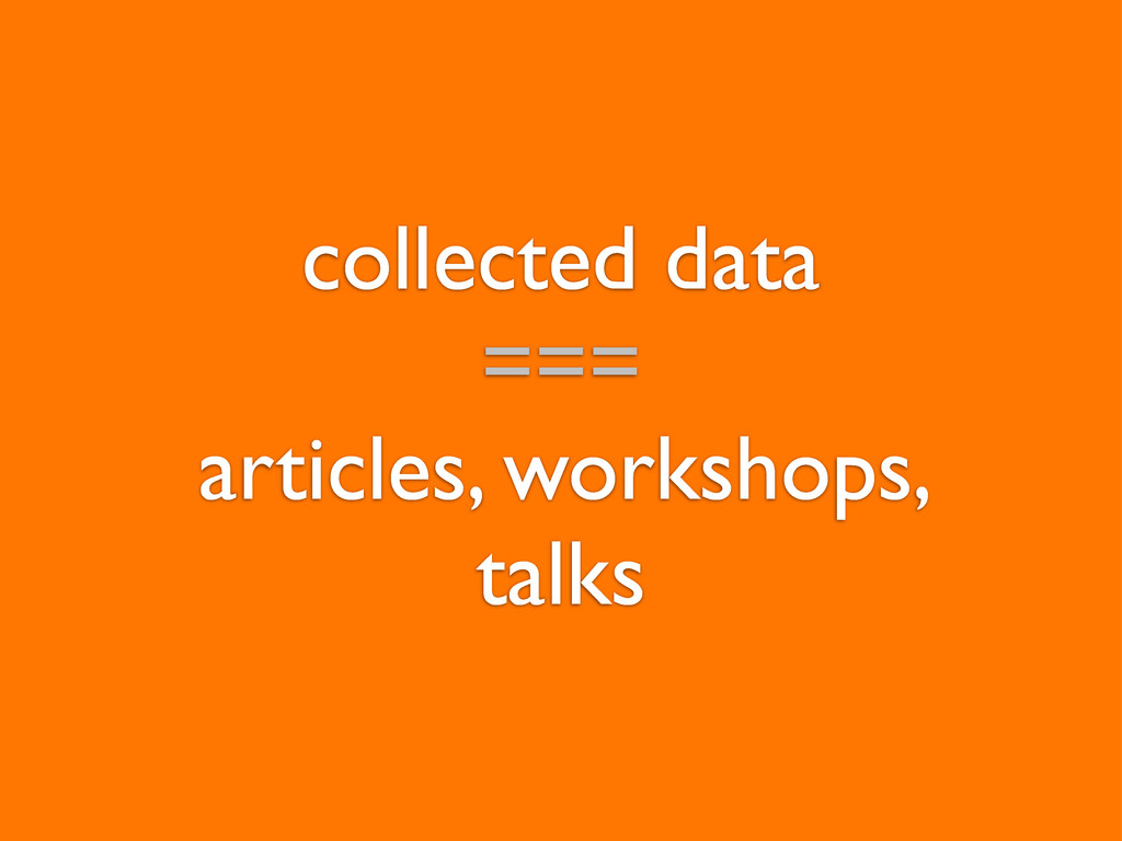 collected data === articles, workshops, talks