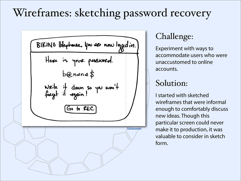 Wireframes: sketching password recovery Challen...
