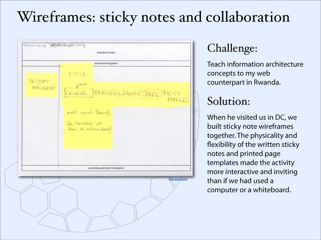 Wireframes: sticky notes and collaboration Chal...