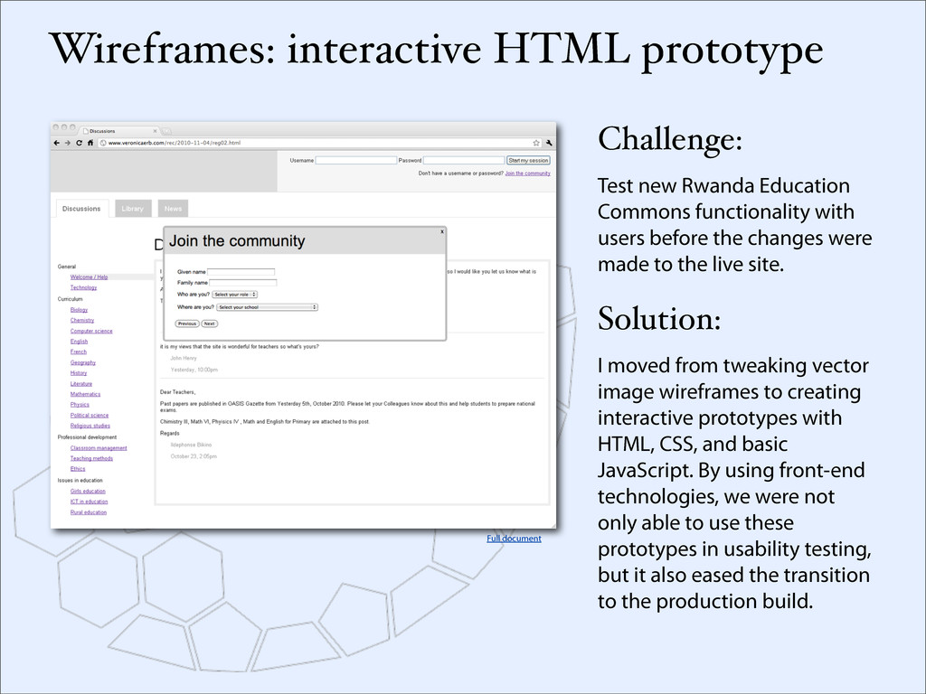 Wireframes: interactive HTML prototype Challeng...