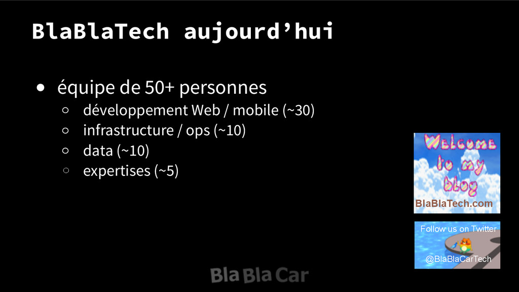 BlaBlaTech aujourd'hui ● équipe de 50+ personne...