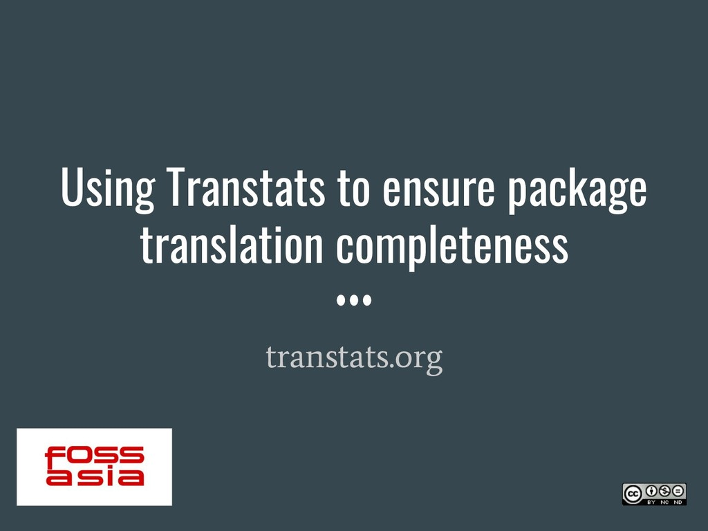 Using Transtats to ensure package translation c...