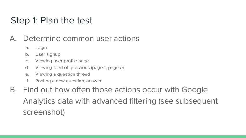 Step 1: Plan the test A. Determine common user ...
