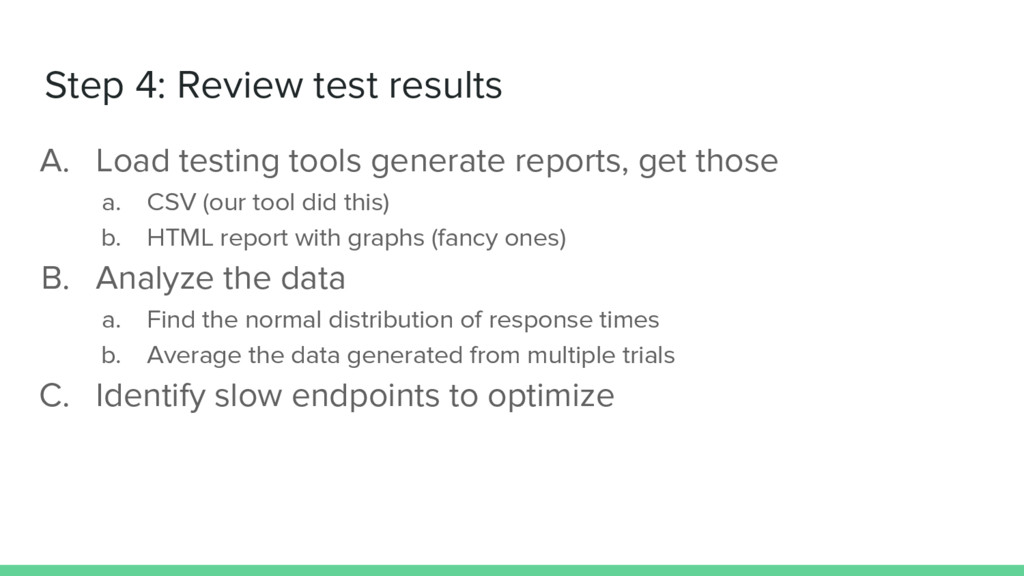 Step 4: Review test results A. Load testing too...
