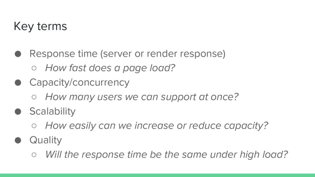 Key terms ● Response time (server or render res...