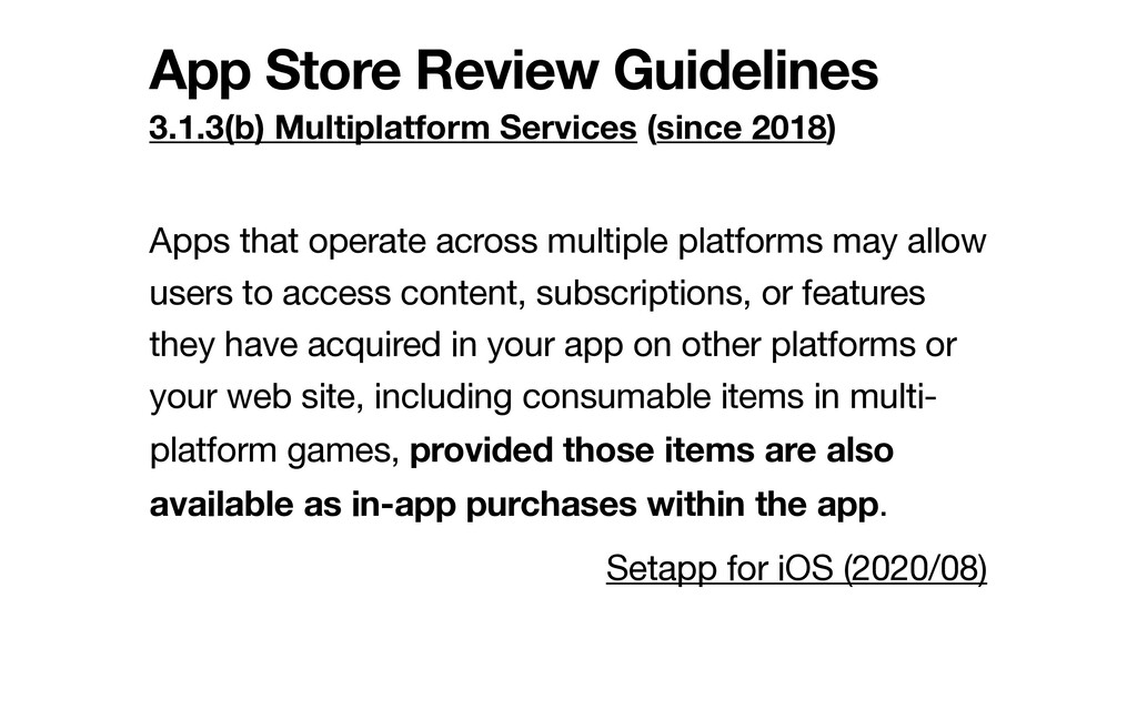 App Store Review Guidelines 3.1.3(b) Multiplatf...