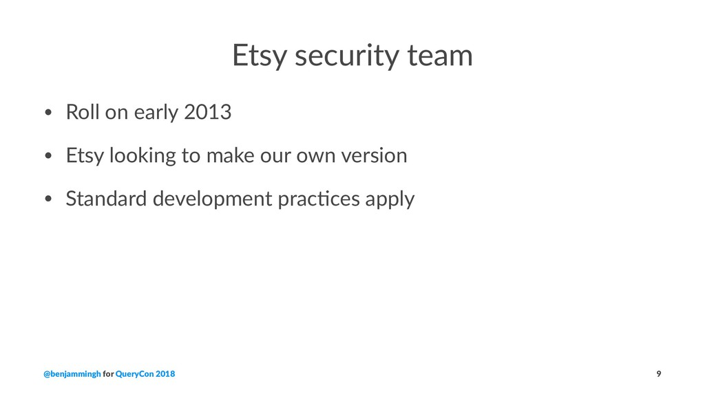 Etsy security team • Roll on early 2013 • Etsy ...