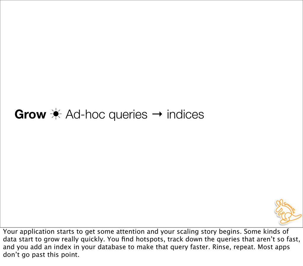 Grow ‗ Ad-hoc queries → indices Your applicatio...