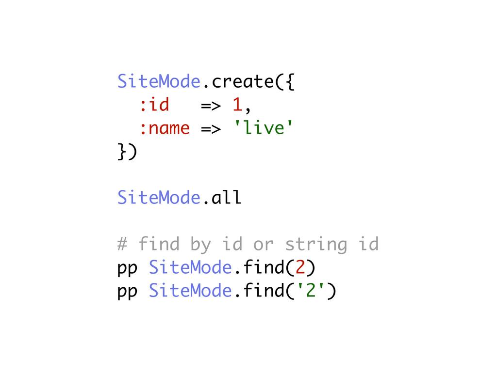 SiteMode.create({ :id => 1, :name => 'live' }) ...