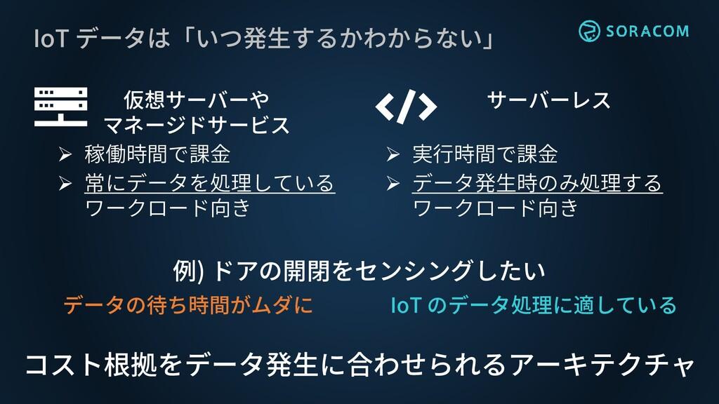 IoT データは「いつ発生するかわからない」 仮想サーバーや マネージドサービス ➢ 稼働時間...