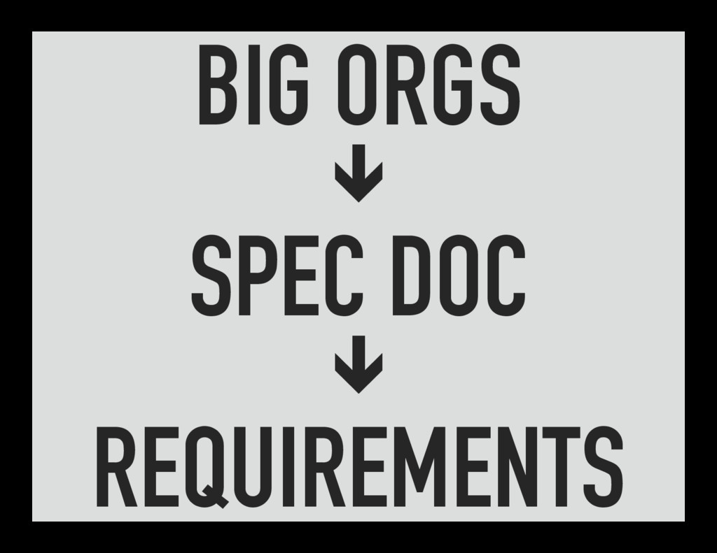 BIG ORGS ê SPEC DOC ê REQUIREMENTS
