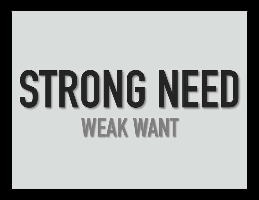 STRONG NEED WEAK WANT