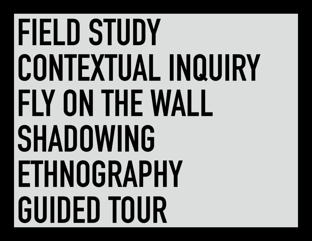 FIELD STUDY CONTEXTUAL INQUIRY FLY ON THE WALL ...