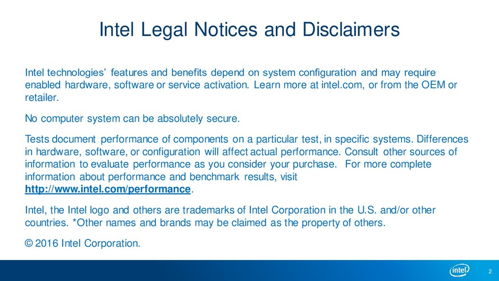 Intel Legal Notices and Disclaimers Intel techn...