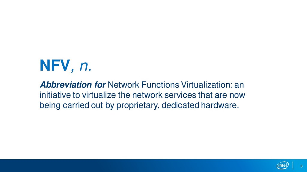 6 NFV, n. Abbreviation for Network Functions Vi...