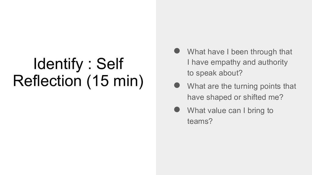Identify : Self Reflection (15 min) ● What have...