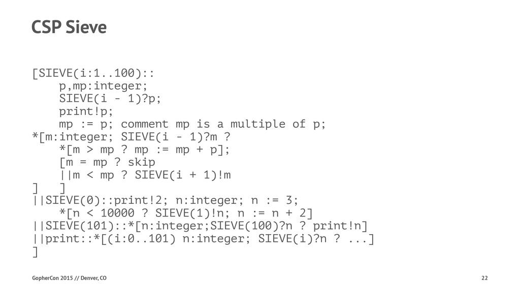 CSP Sieve [SIEVE(i:1..100):: p,mp:integer; SIEV...
