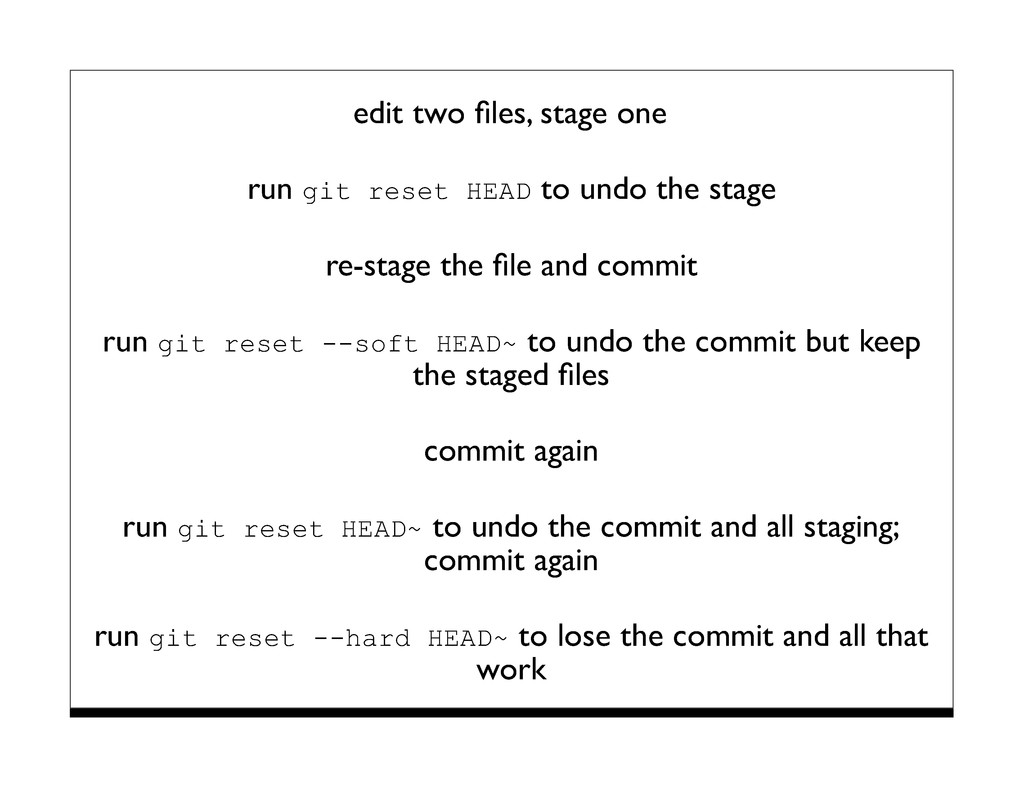 edit two files, stage one run git reset HEAD to ...