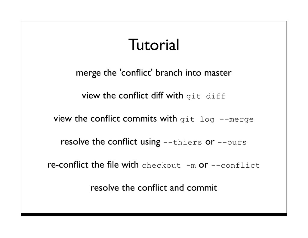 Tutorial merge the 'conflict' branch into master...