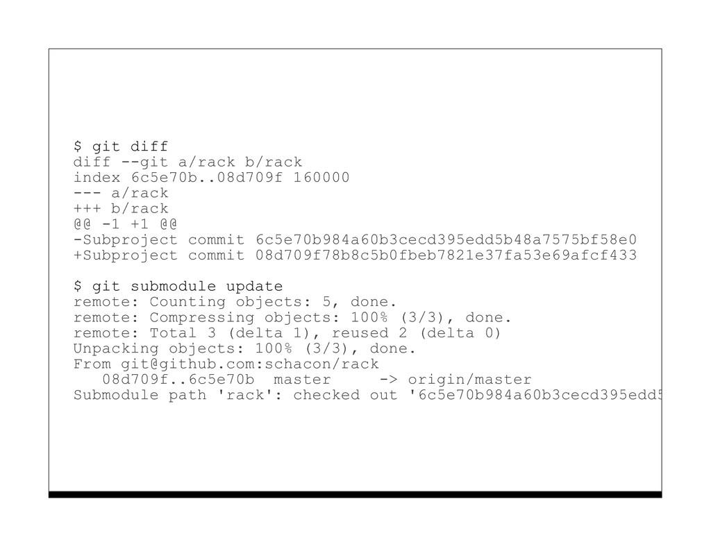 $ git diff diff --git a/rack b/rack index 6c5e7...