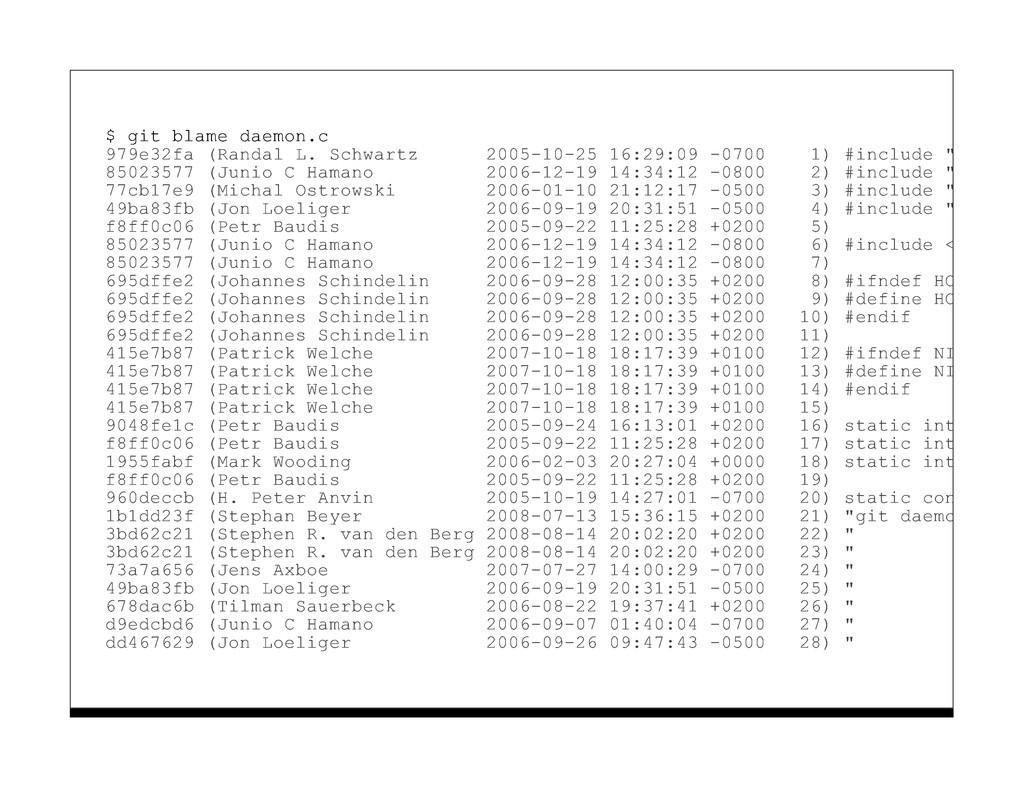 $ git blame daemon.c 979e32fa (Randal L. Schwar...