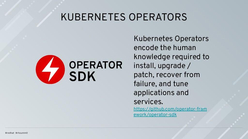 KUBERNETES OPERATORS Kubernetes Operators encod...