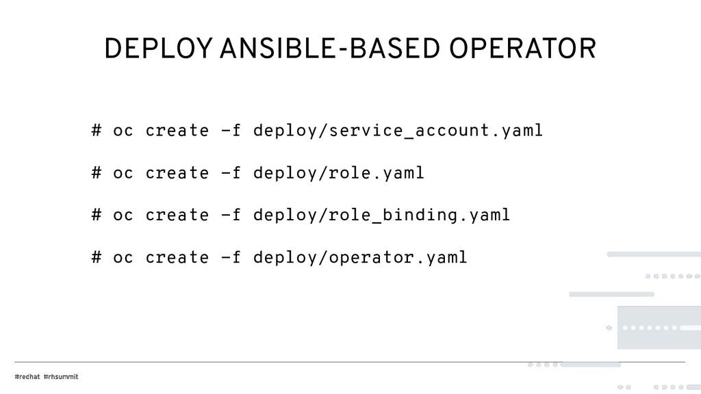 DEPLOY ANSIBLE-BASED OPERATOR # oc create -f de...