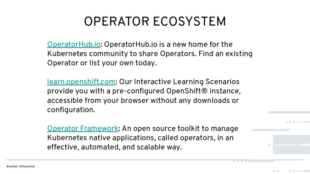 OPERATOR ECOSYSTEM OperatorHub.io: OperatorHub....