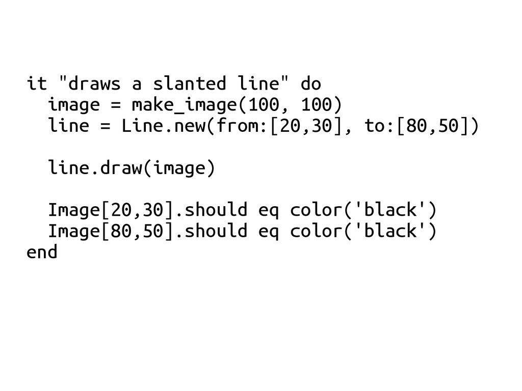 "it ""draws a slanted line"" do image = make_image..."
